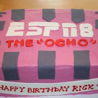 "Espn 8 The ""ocho""  Birthday cake based on the movie Dodge Ball. The quote from the movie is ""ESPN 8, The 'Ocho,' When it's almost a sport..."