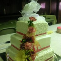 Emilys Wedding This was my first attempt at a large wedding cake it was chocolate with ganche filing the flowers are fresh and the topper was added by the...