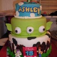 Toy Story A cake for my niece, I am still pretty new to covering cakes in fondant and had quite a bit of trouble with this one, but in the end I...