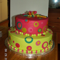 Pink And Green Birthday Cake Made for a lady's 55th birthday to match invitation.