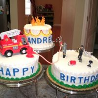 Firefighter Birthday Cake This was derived from the WIlton cake named Three Alarm Celebration. I do not have the skill to make my own firemen at the moment, so I...