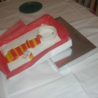 Shirt Cake 2Nd View Showing Box This is a view of my first Shirt Cake that shows it from far away with box lid that I used to cover the cake with on the bottom as a prop....