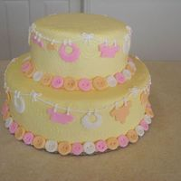 Baby Shower Cake Babushower cake for our cousin and his wife babyshower. White cake with orange buttercream covered with yellow tinted buttercream and...