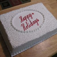 Office Christmas Party Cake   I made this cake for my husband's office Christmas party. It was chocolate cake with chocolate filling and buttercream icing.
