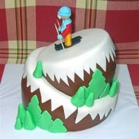 Skiing Topsy Turvy Thanks jen_g_is for your great cake!!! My friend and I loved the idea. 5 in and 7 in cakes. Buttercream icing and fondant snow and trees...