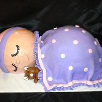 Sleeping Baby Saw a cake like this on Flickr.com once and had to try it. It was sooo much fun! Baby is buttercream. Hat, blanket and bear is MMF. TFL