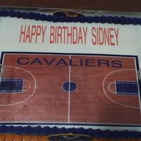 University Of Virginia Basketball Themed Birthday Cake   Customer wanted a basketball themed cake with the UVA colors
