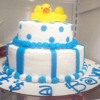 Boy Baby Shower rubber ducky theme, marble cake with fondant and bc icing