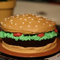 Burger Cake This is my first cake... I decided to be a little ambitious. Its decorated in all buttercream frosting, and the buns are golden cake, the...