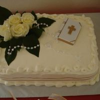 First Communion Cake Fresh white flowers,. strawberry filing