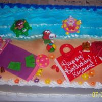 Dora And Elmo's Day At The Beach dora and elmo at the beach pastry pride frosted, MMF accents (towels, thongs, bag, hat, grass skirt) the toys were bought by the girls mom...