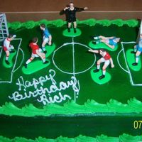 Soccer buttercream frosted, air brushed, and the wilton soccer player kit