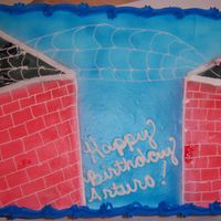 Spiderman pasrty pride frosted, airbrushed, buttercream webs,