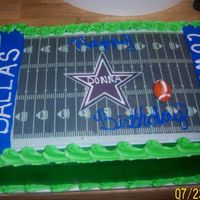 Dallas Cowboys dallas cowboy cake, buttercream frosted, edible image feild,