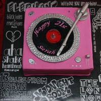 Sarah's 21St My niece's 21st birthday cake. She requested a record player and this is my attempt at the Planet Cake version. The board was...