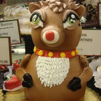 Rudolph The Psycho Reindeer   Chocolate cake iced in buttercream with candy-melt antlers...