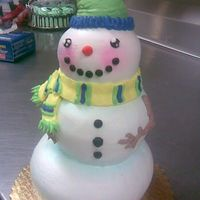 Snowman Guy   White cake with buttercream and a little bit of clear edible glitter for that snowy effect!