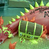 Dragon With Treasure Chest   fudge-filled chocolate cake iced in buttercream...rawr!