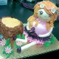 Woodland Fairy   choc cake iced in choc and van buttercream...with a few fondant flowers for added dimension!