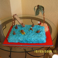 Monkey Pool Party All figures are gumpaste. For a monkey-crazy 7 year old's pool party. Her grandmother told me she's still playing with the...