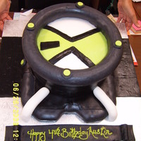 Ben 10 Birthday All fondant details. Covered a foam ring for the outside of the top. Like usual the black fondant is a mess to work with.