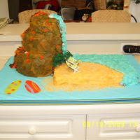 The Most Unusual Quinceanera Cake Ever! The volcano was actually a dummy cake, and a friend used his dremel to make the tiny chairs. It went over great at the party-- go figure!