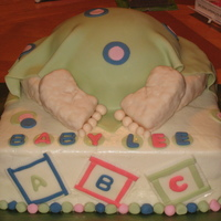 Baby Rump Cake French Vanilla cake with krispy treats for legs in feet. BC with fondant accents