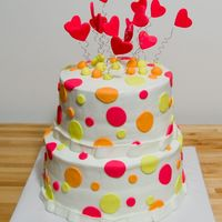 Polka Dot Bridal Shower Critique subgroup member: This is a bridal shower cake I made for my cousin. Covered in buttercream with fondant accents and fondant/...