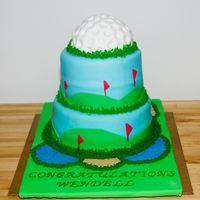 Golf Enthusiast Retirement Cake Critique subgroup member: This is a retirement cake that I made for my husband's uncle. It is covered in MMF.