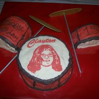 "Drum Set Birthday Cake The bass drum (8"" cake) is white cake with banana cream filling, snare drum and tom (6"" cakes halved) are Chocolate with Cookies..."