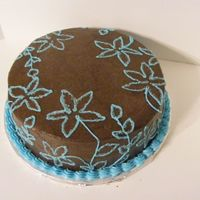 Brown And Blue  First attempt at brushed embroidery... an volunteer raffle cake that was a little rushed (after making over 200 cake balls for the same...