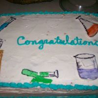 Chemistry Cake Graduation I did this cake for my Mom's chemistry class she teaches for the Navy. It was the first class where everyone passed.