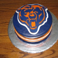 Chicago Bears Logo   This is a cake I made for a silent auction. Covered in MMF.
