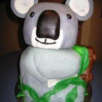 Koala Cake Here is my attempt to a Koala Cake. Chocolate Fudge cake, covered in MMF.