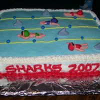 Cardinal Sea Sharks Swim Team Cake