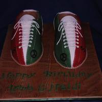 Bowling Shoes? Or Cake? If I had to guess, I'd say they are about a size 13! Both shoes cut out of a 9x13 cake and then slightly carved. One of the girls is...