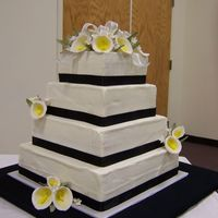 "100_2459.jpg This was one of my first wedding cakes. Its a 12"", 10"", 8"", and 6"" square cake. I used black ribbon so that the guests..."