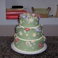 Bridal Shower Cake This was for a bridal shower at my church. The flowers are fondant.