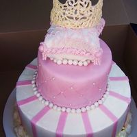 Princess Cake  Princess theme birthday cake. Carved top layer into pillow and covered in mmf. Tiara is made of white chocolate.'Painted with luster...