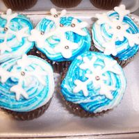 Snowflake Cupcakes I wanted to make a pillow like effect with blue and white icing. I then sprinkled the cupcakes with glitter and placed a RI snowflake on...