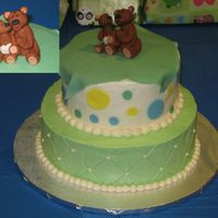 Teddy Bear Shower Cake  The cakes are chocolate with chocolate ganache filing (it's a 10 inch and a 7 inch). The cakes are covered in BCD with fondant...