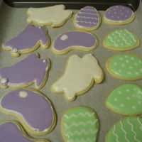 Easter Cookies   These are Wilton cookie cutters, NFSC with Toba Garrett's glace icing. I love the taste of these cookies with this iceing. TFL