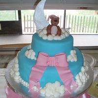 Teddy Bear Baby Shower Cake  These are both chocolate with Satin Ice fondant (10 inch and 6 inch). The bear was done with aine2's bear hugs tutorial, that's...