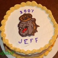 Jmu Grad Cake - Duke Dog Buttercream icing with chocolate transfer of the Duke Dog, the mascot of JMU. Go Dukes!