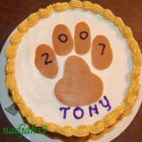 Jmu Grad Cake - Duke Dog Paw Buttercream icing with chocolate transfer of the Duke Dog paw