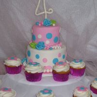 Happy 4Th Birthday Pink & Blue polka dot theme with matching cupcakes original idea based off a Jayci cake. First time doing ribbon roses and will...