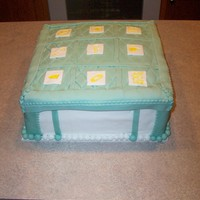"Baby Shower Cake Mint Green And White Fondant 12"" x 12"" Square Cake"