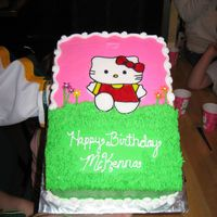 Hello Kitty! White cake w/ BC. Kello Kitty made out of fondant and hand painted. Thanks for all of the great ideas here! TFL