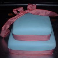Potter Barn Baby Shower This cake was made for a baby shower. The parents were registered at Pottery barn and the baby bedding was a pale blue and included a lot...