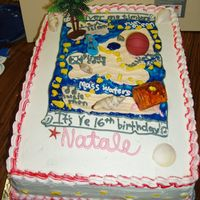 Sweet 16 Pirate Cake 11x 16 Sweet 16 pirate cake designed around interests of birthday girl. Buttercream frosting, and a chocolate cake
